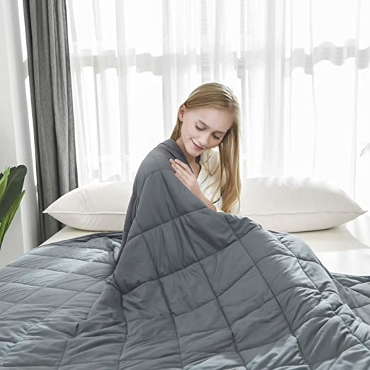 48x72 Twin Size//for Adult Women and Men Heavy Blanket New Concept of Sleep Comfortable Breathable Cotton Material/Warm and Close-Fitting Weighted Blanket 15 lbs