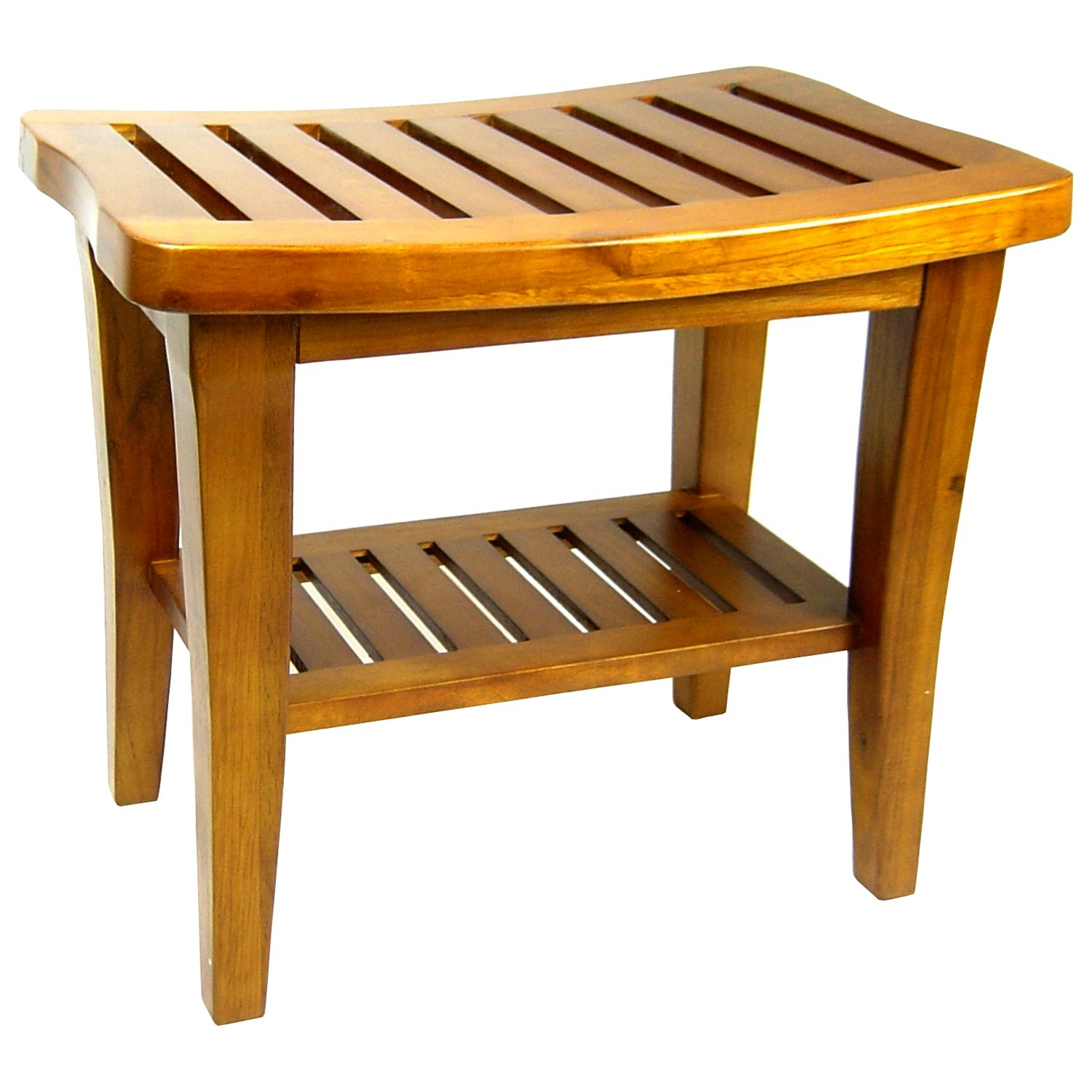 Premium Wood Shower Seat Bench Solid Teak Bathroom Stool Toilet ...