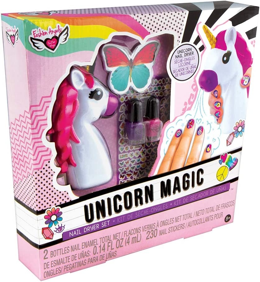 Amazon Com Fashion Angels Unicorn Magic Nail Dryer Set 12128 Nail Gift Set For Girls Ages 8 And Up Brown A Toys Games