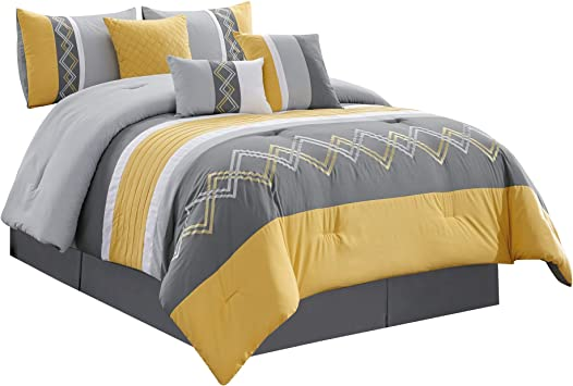 Full Queen Cal King Navy Gold Gray Zig Zag Striped 7 pc Comforter Set Bedding