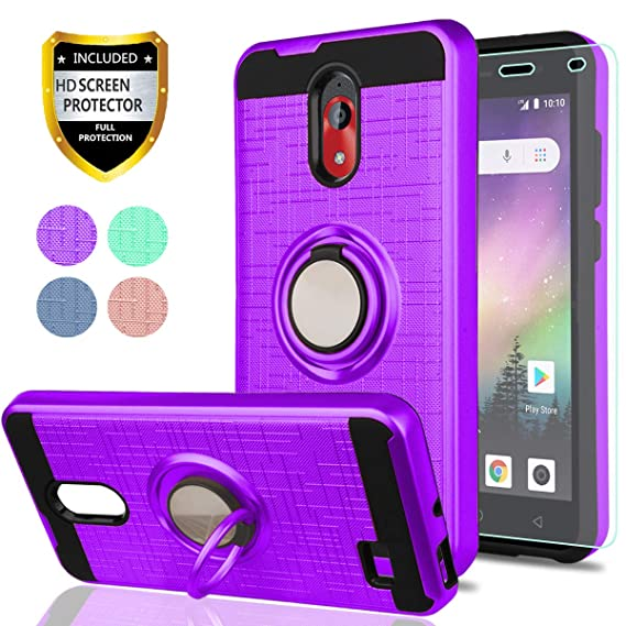 Coolpad Illumina (2018) Case,Coolpad Legacy Go Case with HD Phone Screen  Protector,YmhxcY 360 Degree Rotating Ring & Bracket Dual Layer Resistant  Back