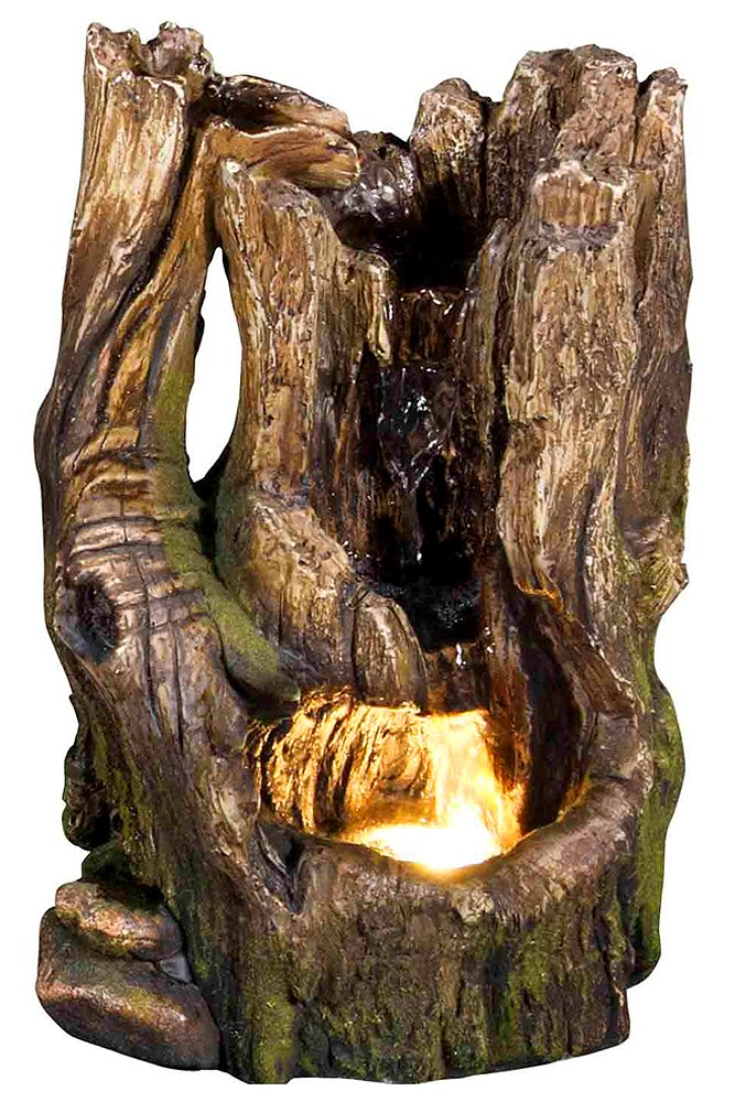 11'' Cedar Cove Log Fountain w/LED Light: Indoor/Outdoor Water Feature for Tabletops, Gardens & Patios. Adjustable Pump, HF-L10-11LT by Harmony Fountains