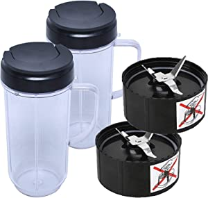 Replacement Parts for Magic Bullet Blender Juicer Mixer, 250W MB-1001 Cross Blade & 22OZ Blender Cups with Flip Top to-Go Lid and Gasket Accessories