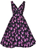 Ladies 40's 50's Vintage Purple Floral Wrap Effect Full Circle Flared Party Prom Cocktail Tea Dress