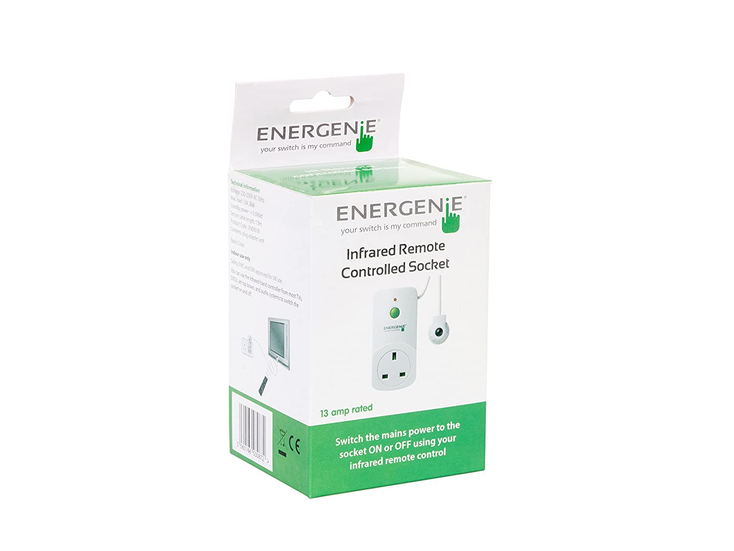 Energenie Ener018 Energy Saving Infrared Controlled Socket With Ir Appliance Switch Circuit Using Any Infra Red Remote Control Flying Lead White Diy Tools