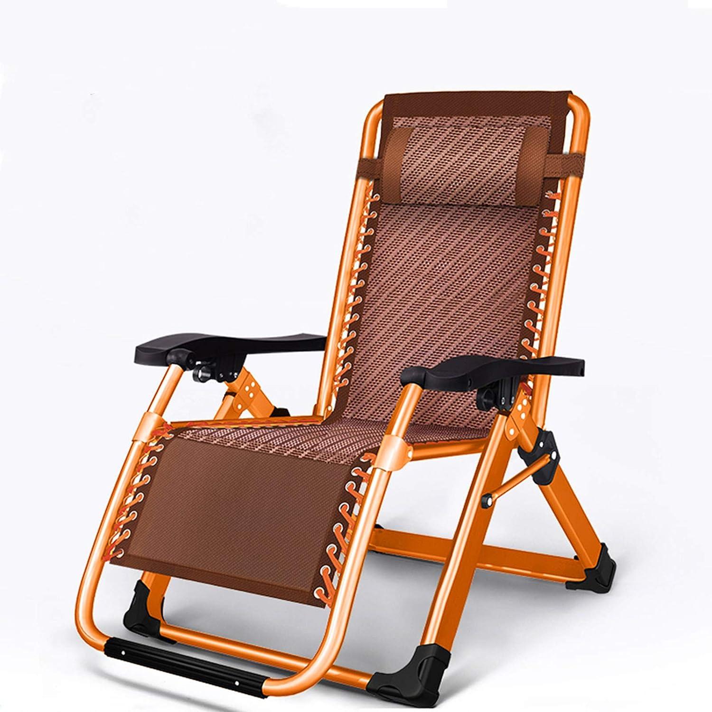Silla de salón plegable, transpirable, reclinable, capacidad de 500 lb, silla de gravedad ajustable, duradera, naranja, negro, marrón, Tubo de metal y tela., azul, marrón