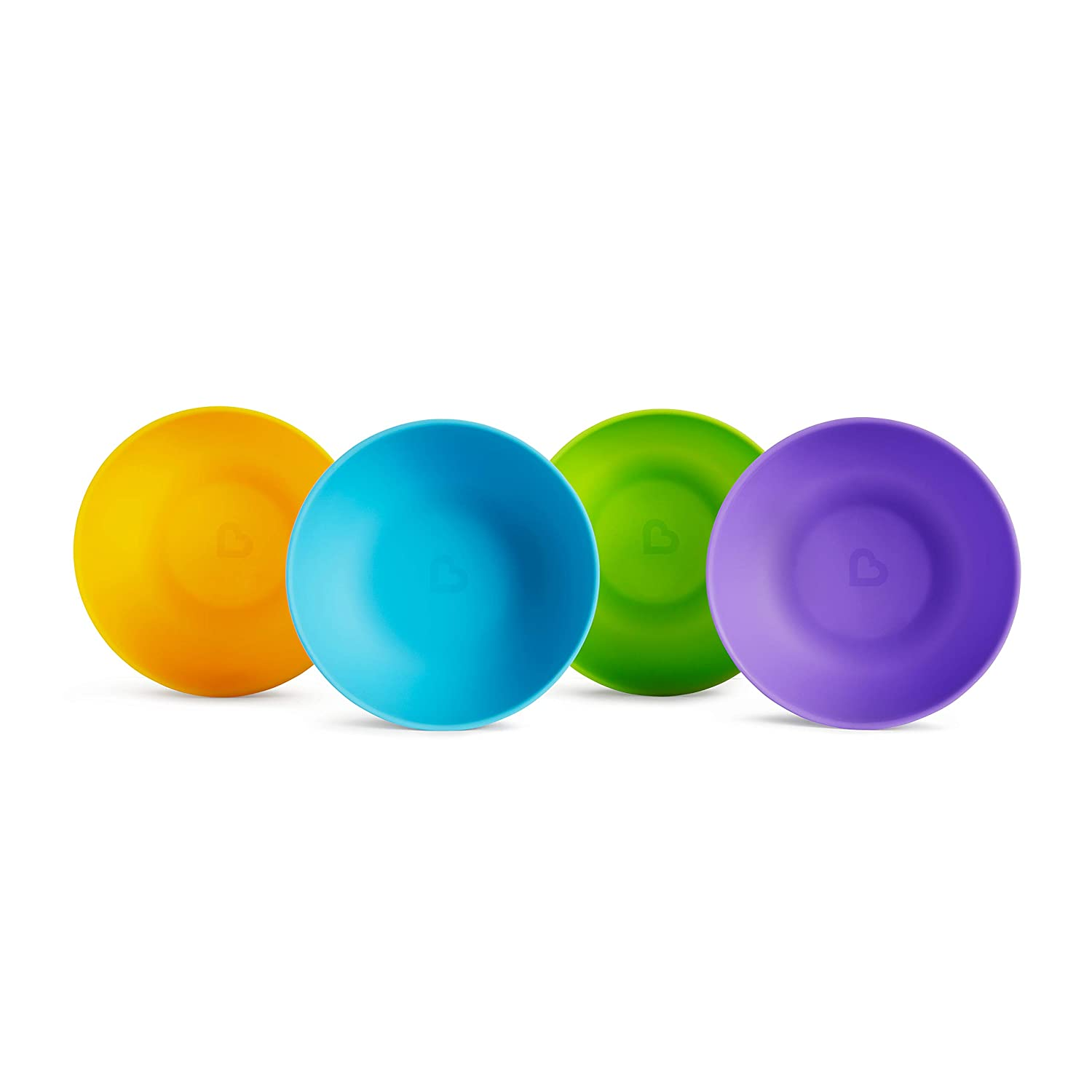 Munchkin 4-Pack Multi-Color Bowls bundle with 6-Pack Soft Tip Infant Spoons