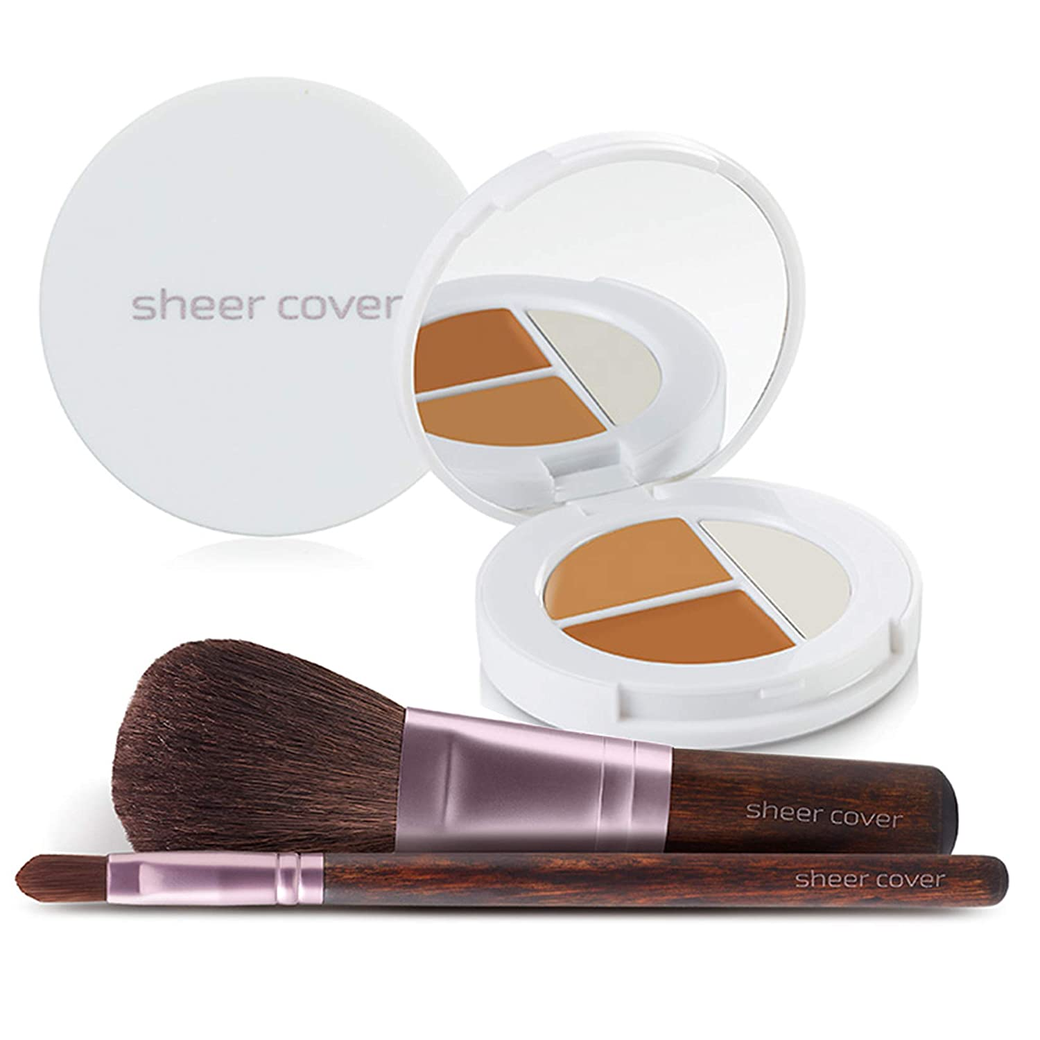 Amazon com sheer cover studio starter face kit perfect shade mineral foundation conceal brighten highlight trio with free foundation brush and
