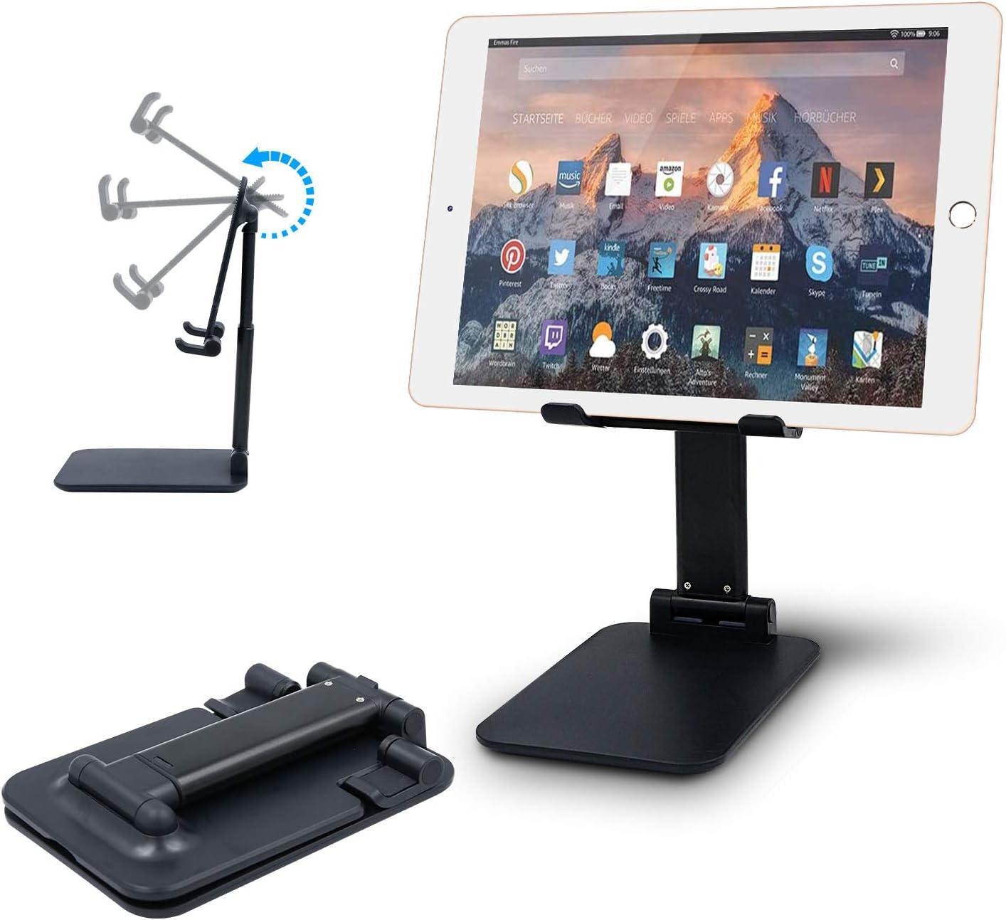 Adjustable Tablet Stand Holder, Foldable Desktop Stand Cradle Dock Holder,Multi-Angle Height Adjustable Tablet Holder for iPad Microsoft Surface Tablets, Samsung Galaxy Tabs and All Tablets (Black)