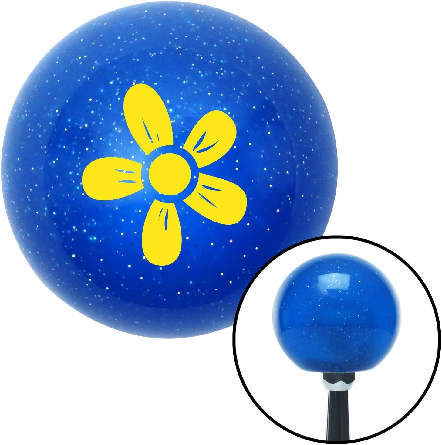 Yellow Hawaiian Flower 2 American Shifter 22298 Blue Metal Flake Shift Knob