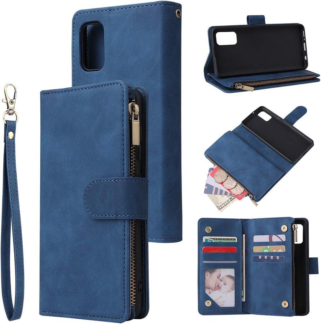 EuCase Funda para Samsung Note 10 Lite/A81, Carcasa Samsung Note 10 Lite/A81 Libro con Tapa Flip Antigolpes Cartera PU Cuero Soporte Plegable Ranuras Tarjetas y Billetera Magnético Cover Azul