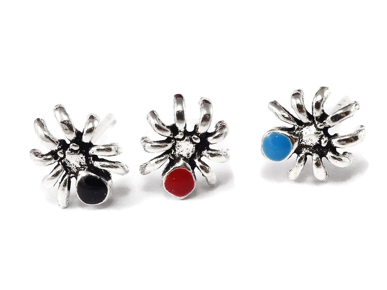 8mm 1 Pair 20 gauge Wide 0.8mm Silver Earring Cartilage Women Teen Kid Minimal Stud Enamel Spider 5//16