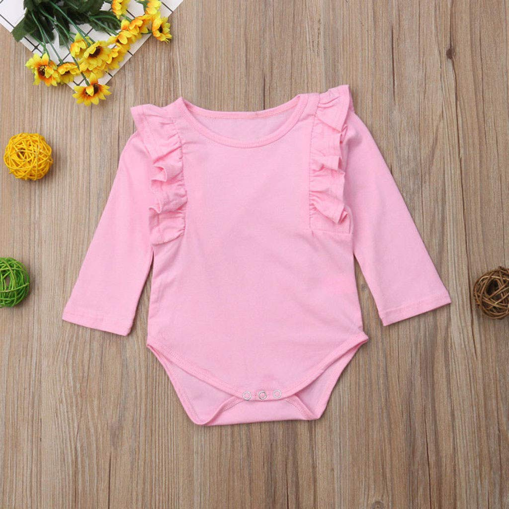 TrimakeShop Infant Baby Boys Girls Long Sleeve Solid Jumpsuit Romper Clothes