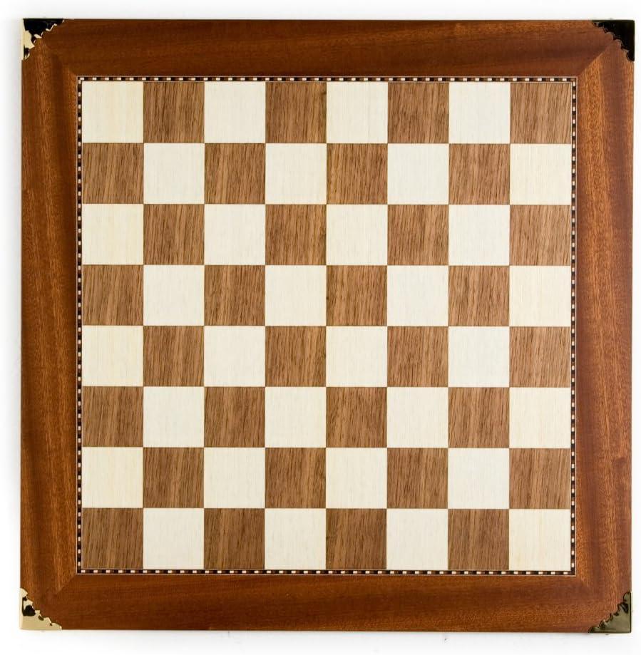 Champion Sycamore/Walnut Chess Board - Brass Corners - 2 1/4 Square Size (in.)