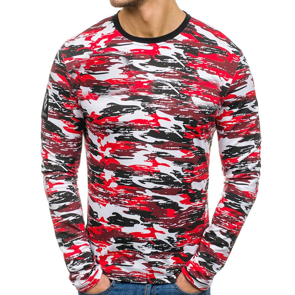 Hommes T-Shirt Lonshell Causal Polo Camouflage Print Collier de Baisse Blouse Top Shirts Chemisier