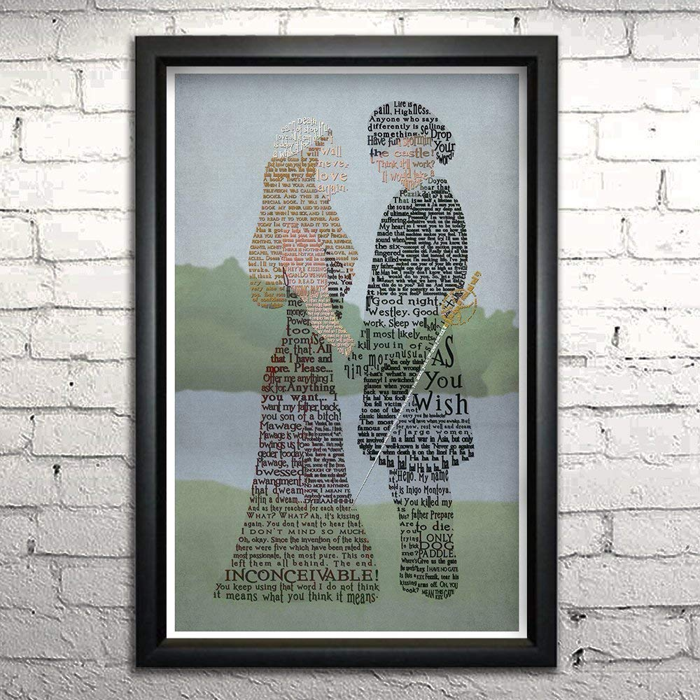 "Princess Bride word art print 11x17"" Framed 