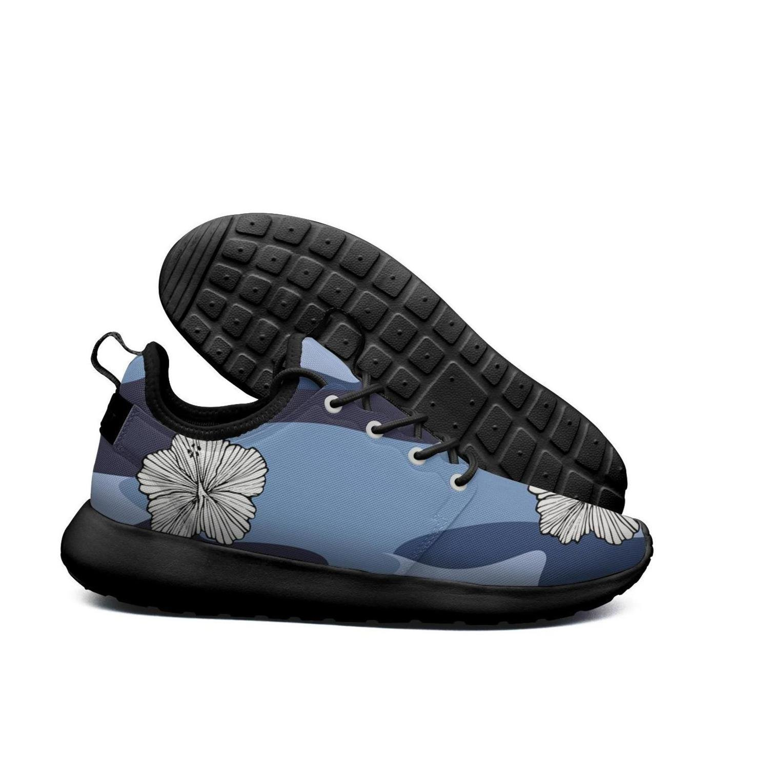 IOJEYOIRFJ colourful flower blue pink camo Womens comfortable lightweight running shoes