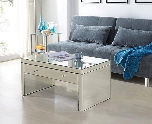 cozime espejo mesa de café, atemporal diseño efecto espejo ...