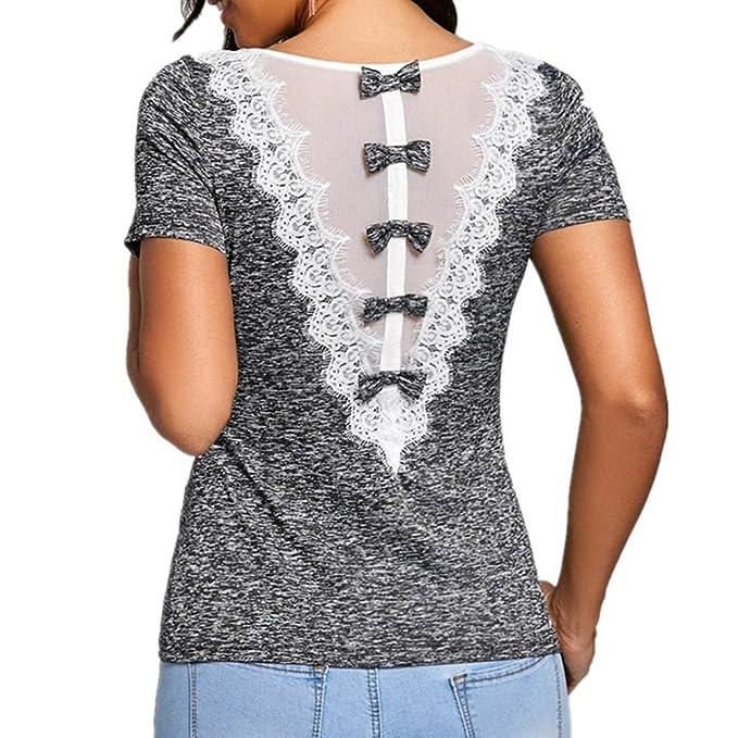 e15221581afc LeeY Mode Damen Spitze Panel Rose Drucken Kurzarm Schräglage Halsband T-Shirt  Oberteile Bluse Frühling