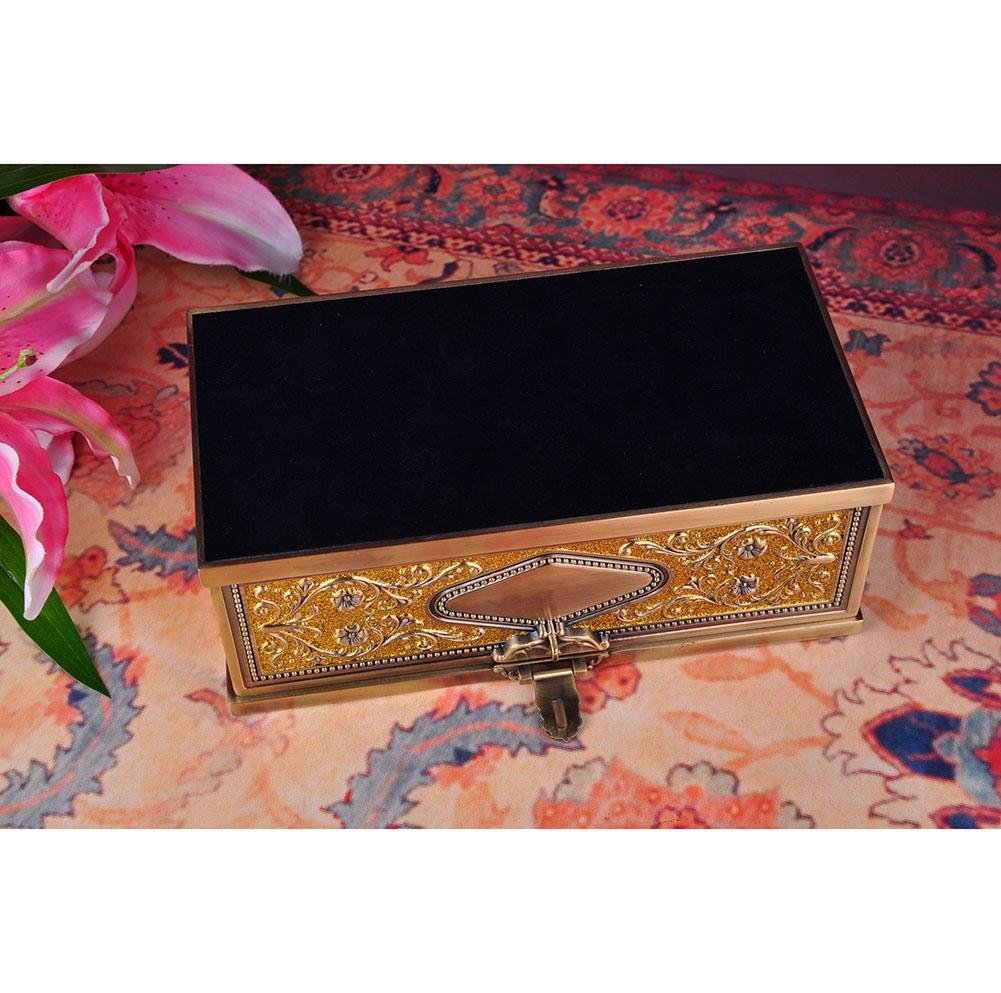 Exquisite Zinc Alloy Tissue Box Holder Cover for Home Office Car Ornaments, Gold, 25.5x14.5x9.3cm