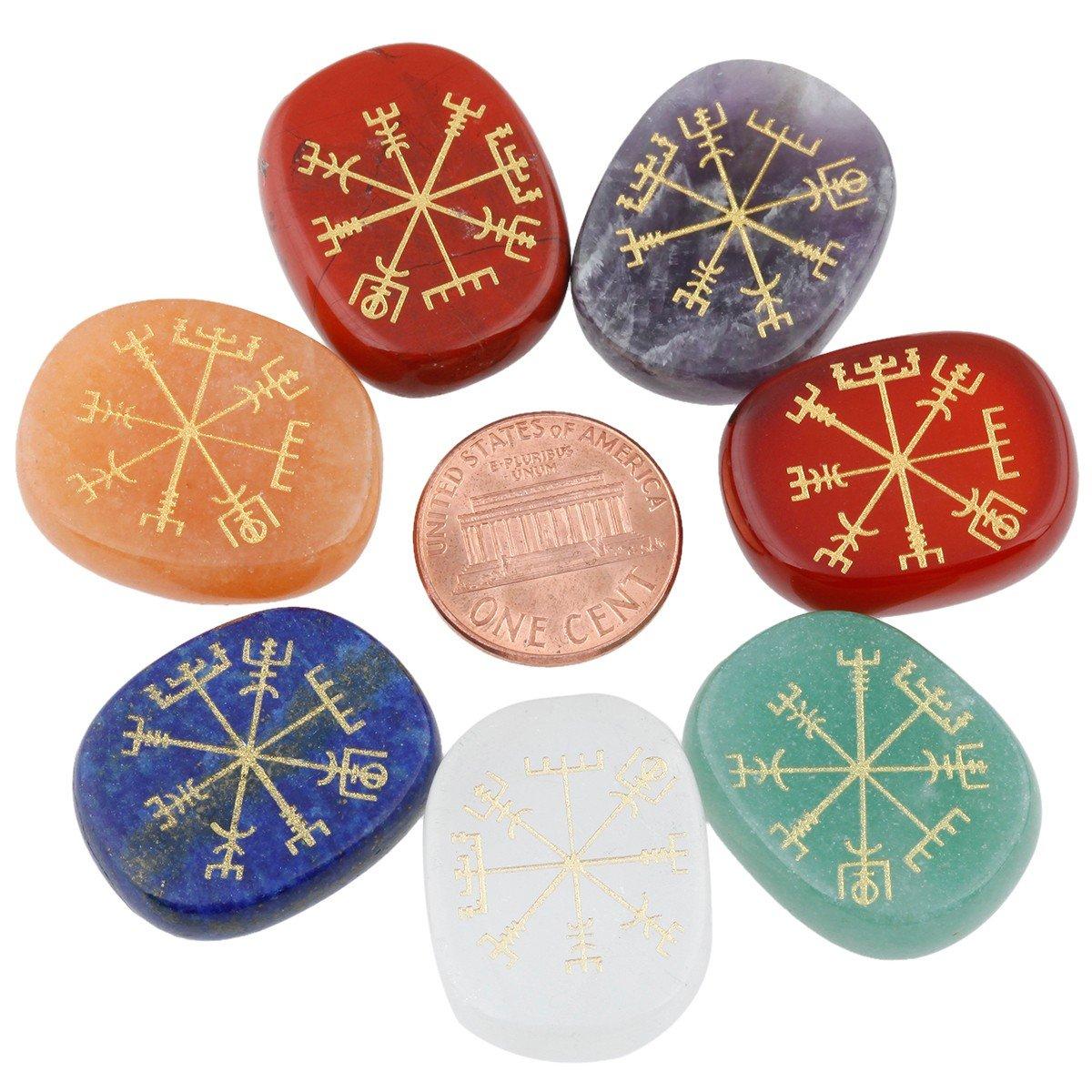 mookaitedecor 7 Piece Chakra Stones with Engraved Symbols Polished Palm Stone for Reiki Crystal Healing