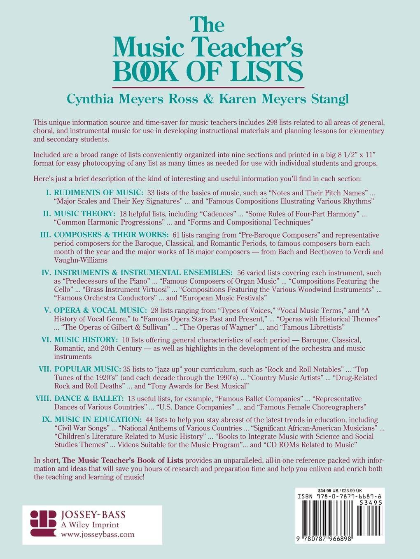The Music Teacher's Book of Lists: Cynthia Meyers Ross, Karen Meyers