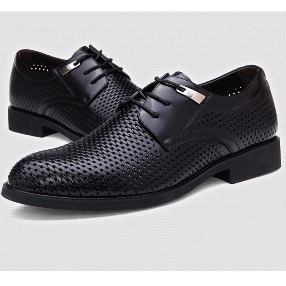 MYXUA Herren Derby Sommer Leder Business Casual Derby Herren Schuhe Hohle Spitze Mode Sandalen schwarz 25748b