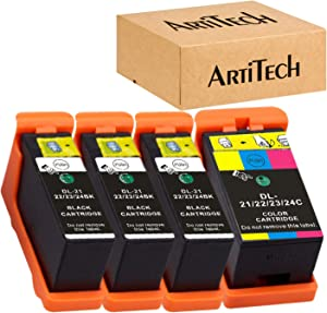 Replace for Dell Series 21 Ink Cartridges Compatible for Dell V515w, V715w, P513w, P713w, V313, V313w, P713w, All-In-One printers 4 Pack, (3 Black and 1 Color) for Dell Series 21, Series 22, Series 23