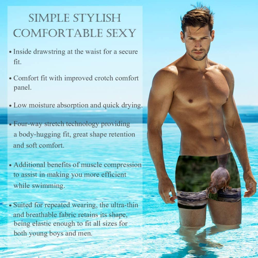 Mens Boxer Swimwear Cute Squirrel On Grass Basic Cozy Brief Swimsuit Comfortable Printed Beach Surf Swimming Trunks