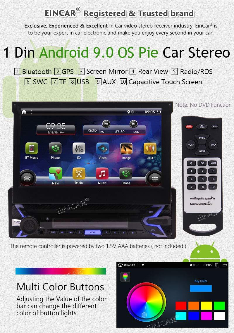 Cam/éra arri/ère Dash Navigation GPS MP3 // MP5 // USB//SD//AUX//AM//r/écepteur FM Bluetooth 1G 16G Car Stereo EINCAR Android 9.0 Panneau Avant Amovible 7 /écran Tactile Simple DIN