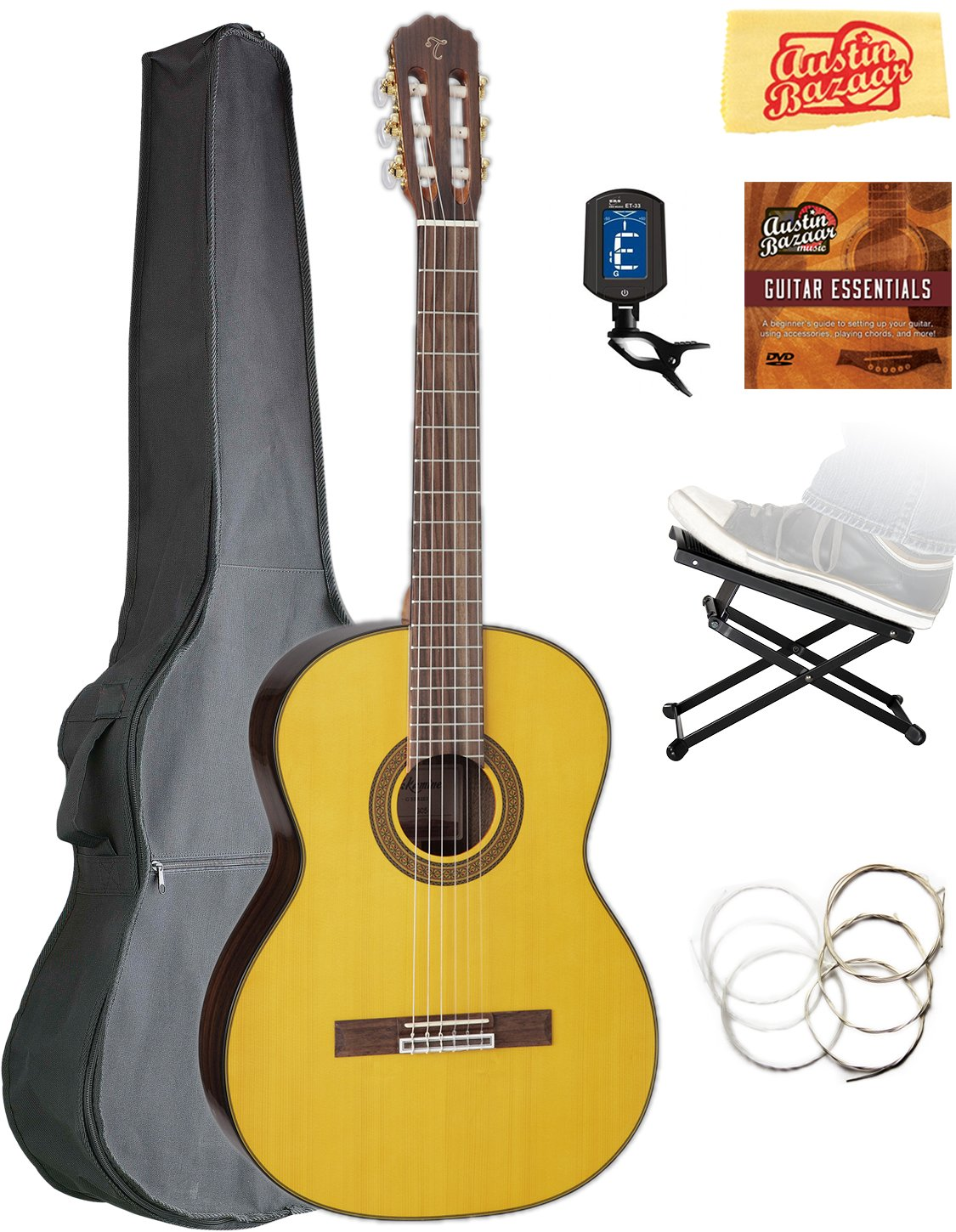 Takamine GC5 Classical Guitar - Natural Gloss Bundle with Gig Bag, Foot Stool, Tuner, Strings, Austin Bazaar Instructional DVD, and Polishing Cloth by Takamine
