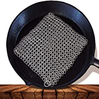 Washieldz Stainless-Steel Cast Iron Skillet Cleaner for Cookware, Pot and Grill | Premium Chainmail Scrubber with…