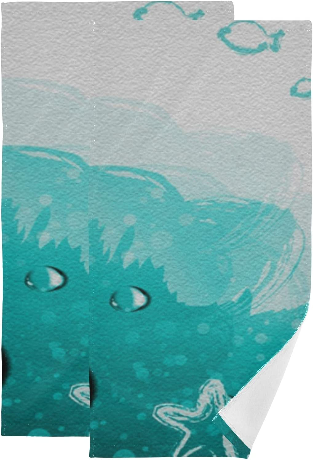 Art Painting Ocean Starfish Hand Towel Set Ultra Soft Absorbent Quick-Dry Hand Towels for Bath Fitness, Bathroom, Sports, Yoga, Travel (2-Pack ,28.3x14.4in)