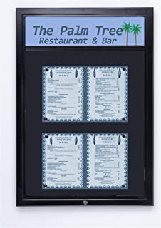 displays2go outdoor notice board with magnetic surface hinged swing open door and optional header bar