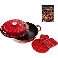 Uno Casa Enameled Cast Iron Skillet - Casserole Dish with Lid - 3.7 Quart Enamel Cookware Pot - Enameled Cast Iron Dutch…