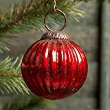 2 In Ribbed Red Mercury Glass Kugel Ornament Set/6