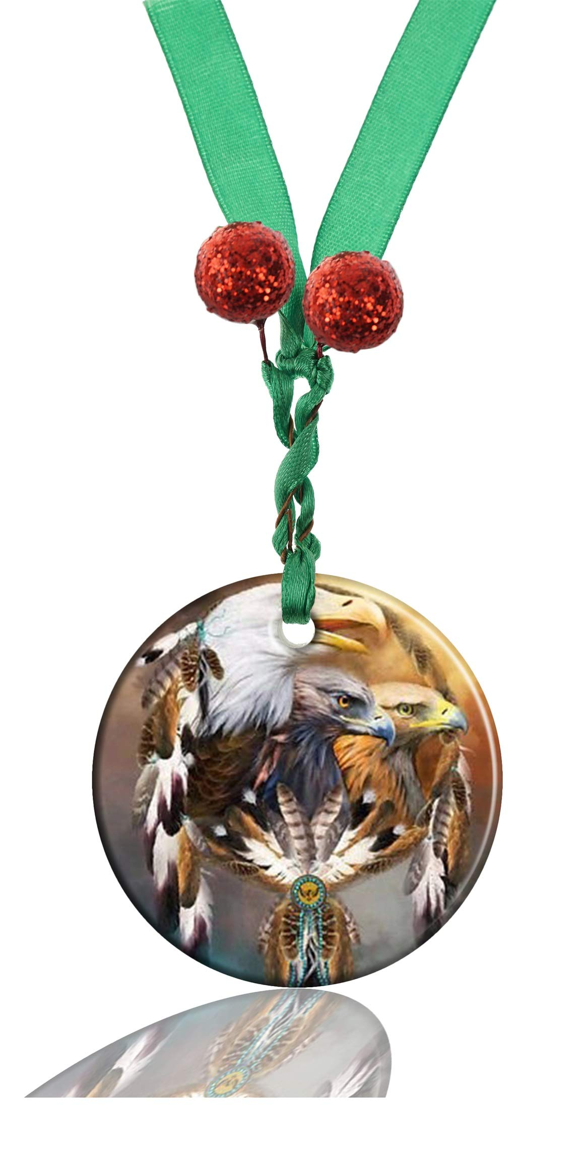GDEE Custom Animal Eagle Personalized Round Porcelain Ornaments Christmas Ornaments Home Decoration
