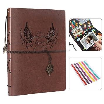 Amazon De Meanlove Retro Scrapbook Album Diy Retro Leder Fotoalbum