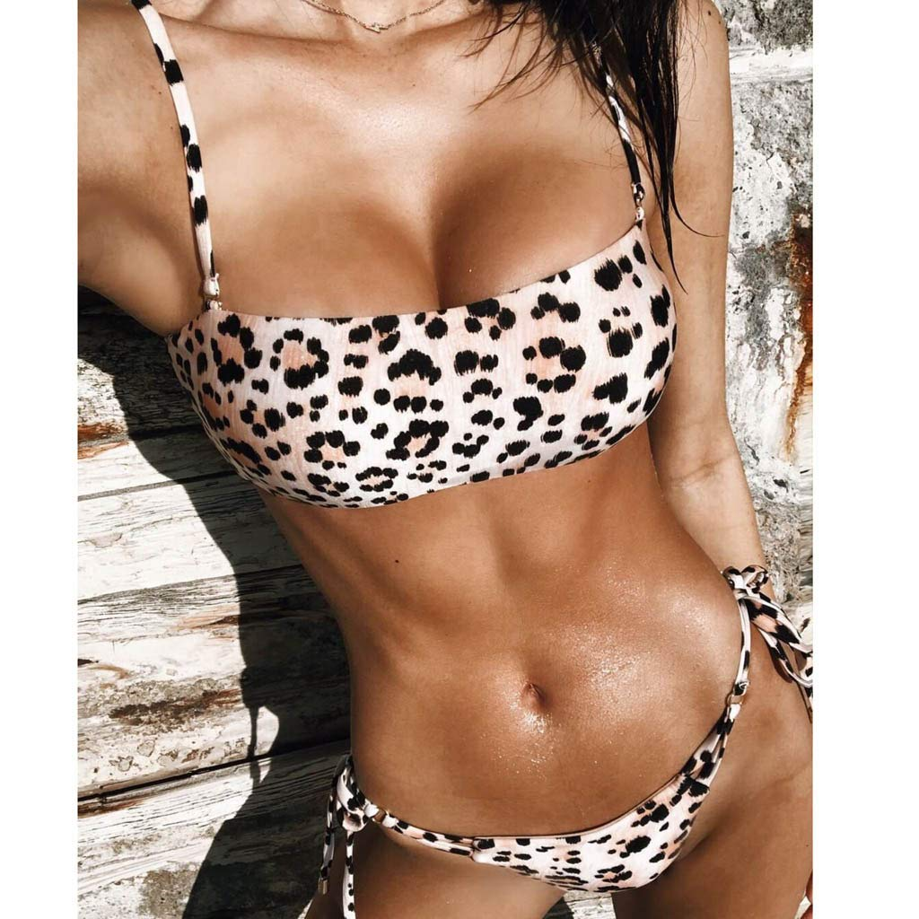 2fc7aa994ec3 Amazon.com: Loveso Women's Sexy Leopard Bikini Bikini Tube top Swimwear  Beachwear Two-Piece Suit: Clothing
