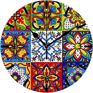 Kuizee Wall Clock Tabletop Mexican Talavera Block Ethnic Folk Ornament Majolica Colorful PVC Foam Board Creative Decoration Home Office Bedroom 10Inch