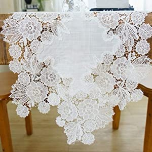 White Lace Small Flower Embroidered Table Runner Farmhouse Dresser Mantel Scarf for Bedrooom Rustic Wedding Party Bridal Shower Coffee Table Decor 13 x 35 Inch