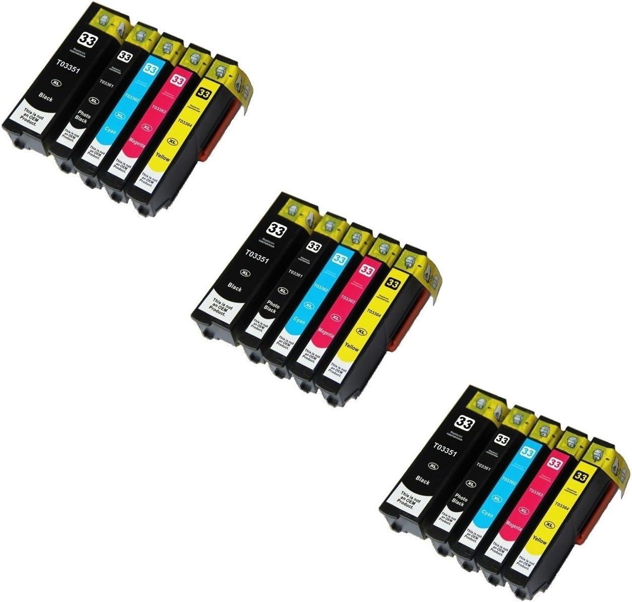 Printing Pleasure 15 Compatibles 33XL Cartuchos de Tinta para ...