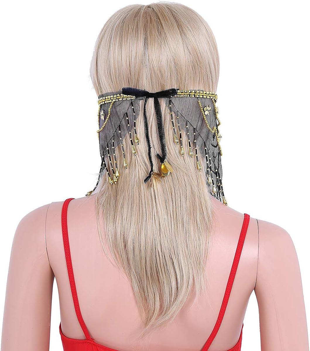 Women/'s Veil Headwear Beads Tassels Belly Dance Face Veil Costume Accessory