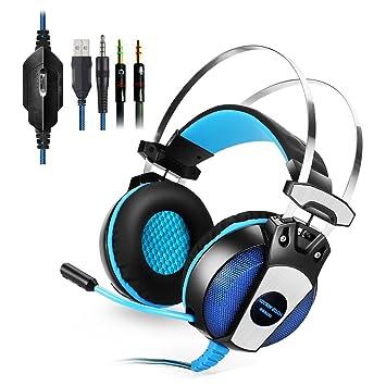KINGTOP Auriculares Cascos Gaming Estéreo con Micrófono de 360 ° Ajustable Juego Auricular LED , PS4