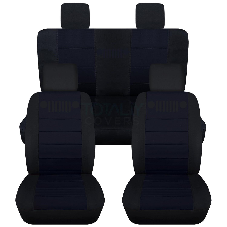 2008 2009 2-Door//4-Door Complete Back Solid//Split Bench Full Set: Front /& Rear 23 Colors 2007-2010 Jeep Wrangler JK Seat Covers: Black /& Hunter Green