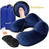 MLVOC Inflatable Travel Pillow, Auto-Inflating Neck Pillow with Soft Velvet Cover Machine Washable for Airplanes - Blue