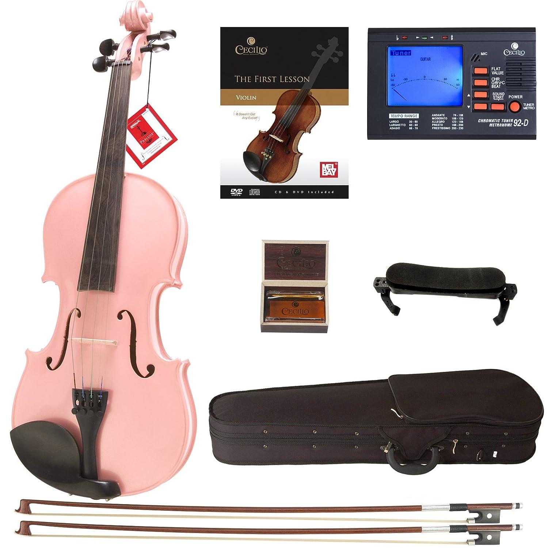 Cecilio CVN-Blue Solidwood Ebony Fitted Blue Violin with D'Addario Prelude Strings, Size 4/4 (Full Size) Cecilio Musical Instruments DA_4/4CVN-Blue+SR+92D+FB1