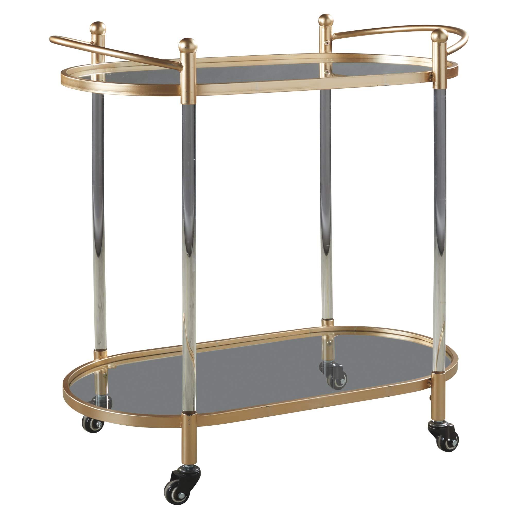 Signature Design by Ashley A4000103 Cordland Bar Cart, Clear/Gold Finish