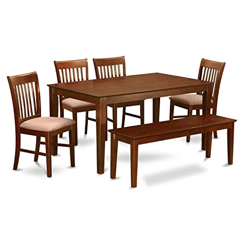 CANO6C-MAH-C 6-Pc Dining Table with bench'set- Table and 4 Dining Chairs and Bench