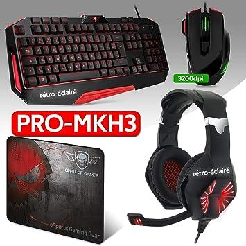 Spirit Of Gamer Pack 4 en 1 Pro-MKH3 – Auriculares, teclado y ...
